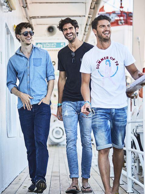 Jeans, People, Denim, Fashion, Fun, Cool, Textile, T-shirt, Photography, Eyewear,