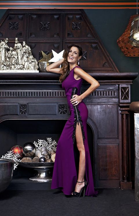 Dress, Purple, Magenta, High heels, One-piece garment, Model, Sandal, Day dress, Makeover, Fashion model,