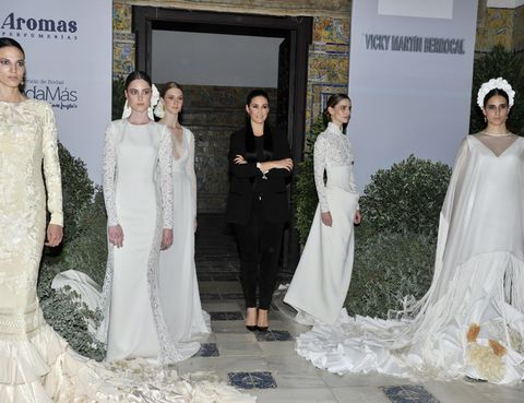 Clothing, Human, Sleeve, Trousers, Event, Dress, Textile, White, Bridal clothing, Gown,