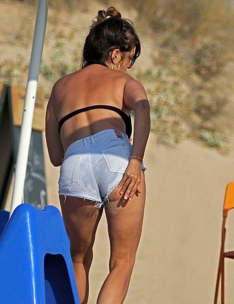 Human leg, Elbow, Waist, Undergarment, Thigh, Electric blue, Back, Undergarment, Chest, Trunk,