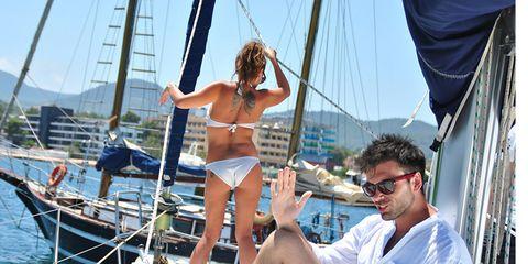 Eyewear, Recreation, Watercraft, Boat, Summer, Muscle, Vacation, Sailboat, Tourism, Thigh,