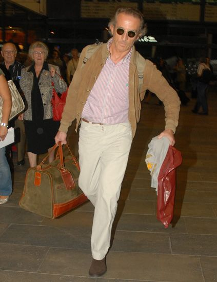 Brown, Trousers, Bag, Textile, Outerwear, Sunglasses, Style, Luggage and bags, Street fashion, Fashion accessory,