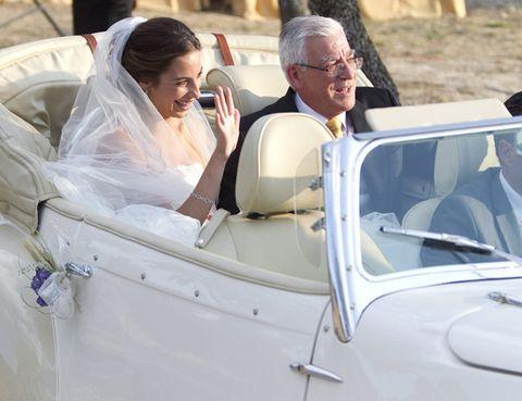 Face, Automotive design, Vehicle, Photograph, Happy, Facial expression, Classic car, Bridal veil, Suit, Bridal clothing,