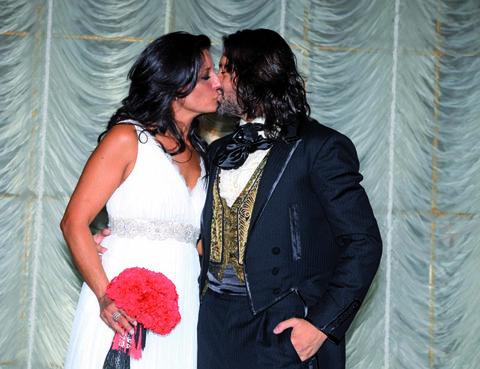 Dress, Romance, Interaction, Kiss, Love, Bride, Bridal clothing, Ceremony, Embellishment, Wedding dress,