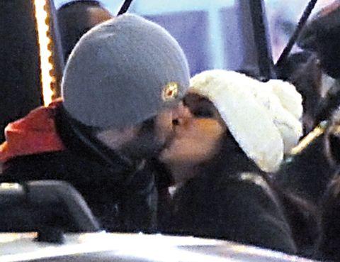 Cap, Interaction, Headgear, Kiss, Love, Vehicle door, Beanie, Fur, Snow, Knit cap,