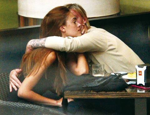 Arm, Comfort, Sitting, Elbow, Blond, Long hair, Brown hair, Love, Tin can, Bored,