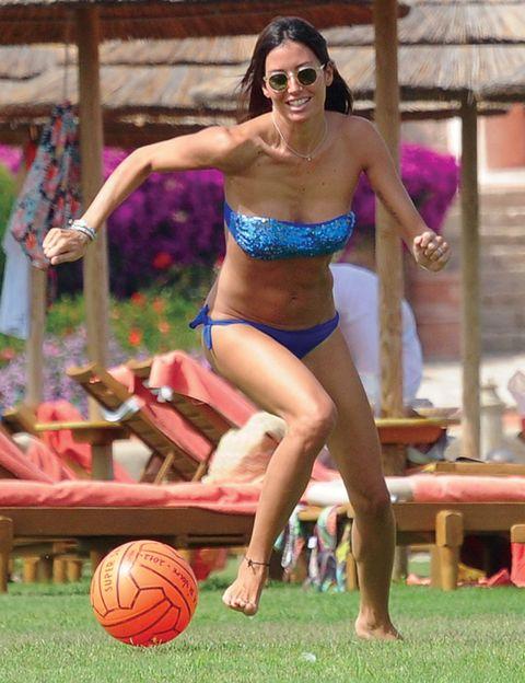 Fun, Ball, Basketball, Human leg, Sports equipment, Brassiere, Ball, Playing sports, Summer, Ball game,