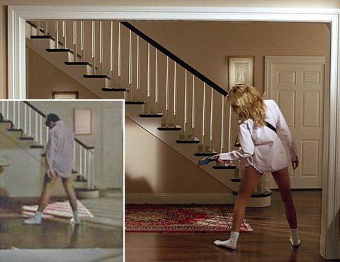 Stairs, Brown, Floor, Wood, Property, Flooring, Human leg, Standing, Wall, Real estate,