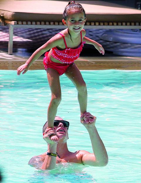 Arm, Fun, Recreation, Water, Leisure, Summer, Swimming pool, Muscle, Vacation, Swimwear,