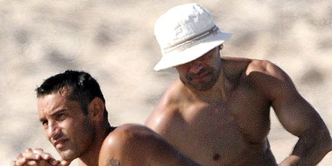 Hat, Barechested, People in nature, Summer, Chest, Muscle, Abdomen, Trunk, Undergarment, Vacation,