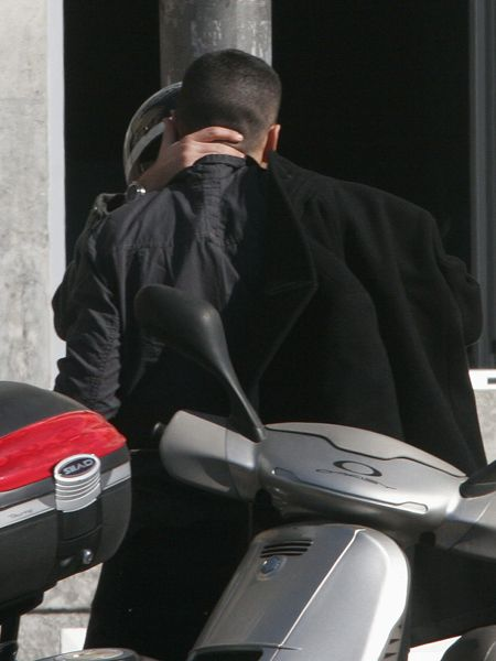 Scooter, Buzz cut, Leather, Motorcycle, Leather jacket, Motorcycle accessories,