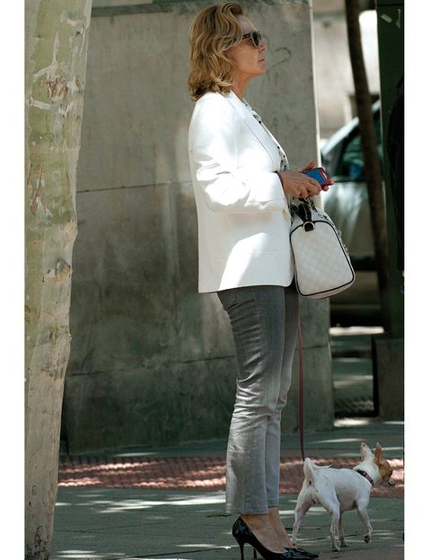 Vertebrate, Carnivore, Outerwear, White, Dog, Style, Bag, Street fashion, Fashion accessory, Blazer,