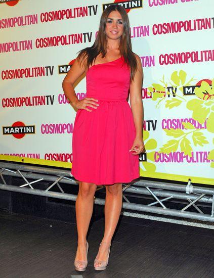 Dress, Shoulder, Red, One-piece garment, Cocktail dress, Eyelash, Day dress, Fashion, Beauty, Fashion model,