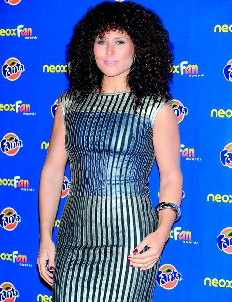 Human, Blue, Hairstyle, Dress, Shoulder, Jheri curl, Style, One-piece garment, Electric blue, Cocktail dress,