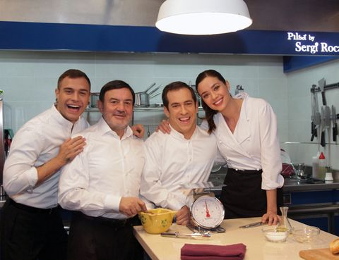 Smile, Cook, Table, Service, Job, Employment, Team, Light fixture, Chef, Dishware,