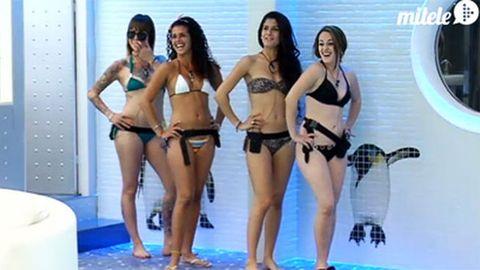 Leg, Hairstyle, Thigh, Brassiere, Waist, Undergarment, Lingerie, Swimsuit bottom, Abdomen, Bikini,