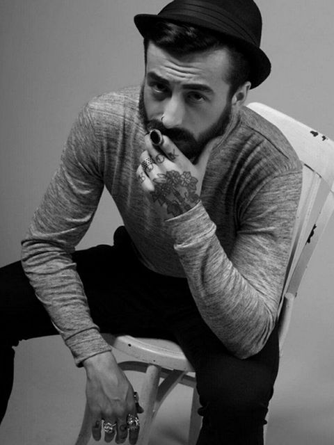 Facial hair, Arm, Beard, Photography, Cool, Black-and-white, Moustache, Elbow, Monochrome photography, Sleeve,