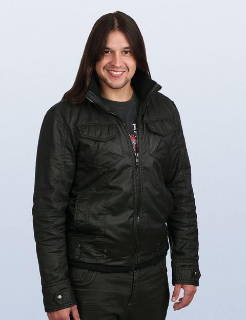 Clothing, Jacket, Sleeve, Shoulder, Collar, Textile, Standing, Joint, Outerwear, Style,