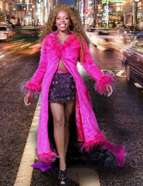 Textile, Magenta, Purple, Pink, Dress, Fashion accessory, Street fashion, Costume, Costume accessory, Full-size car,