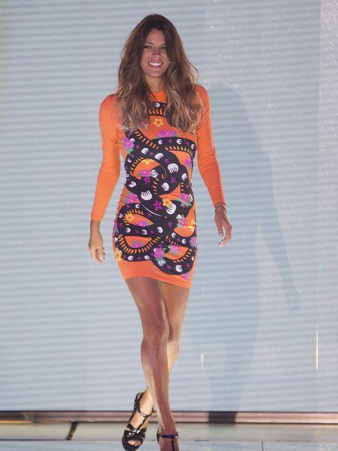Clothing, Fashion model, Dress, Shoulder, Fashion, Orange, Day dress, Cocktail dress, Fashion show, Footwear,