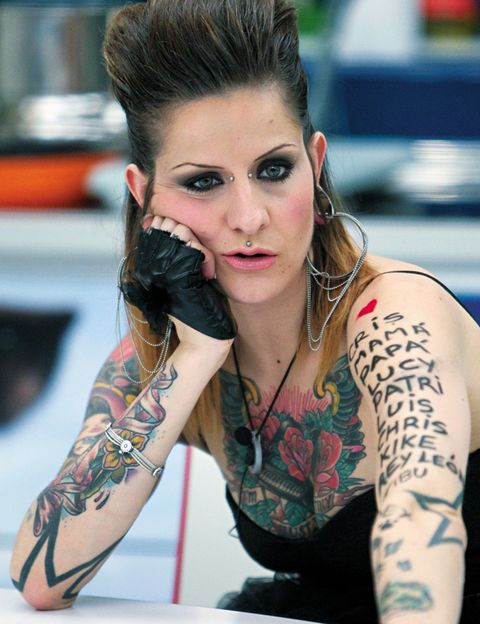 Tattoo, Hairstyle, Eyelash, Style, Jewellery, Elbow, Beauty, Temporary tattoo, Eye liner, Model,