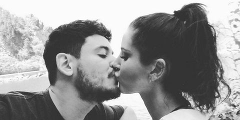Photograph, Kiss, Romance, Love, Forehead, Interaction, Black-and-white, Nose, Cheek, Gesture,