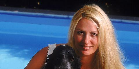 Human, Fun, Dog, Swimming pool, Leisure, Mammal, Carnivore, Summer, Dog breed, Brown hair,