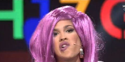 Lip, Hairstyle, Chin, Purple, Eyebrow, Violet, Magenta, Pink, Lavender, Style,