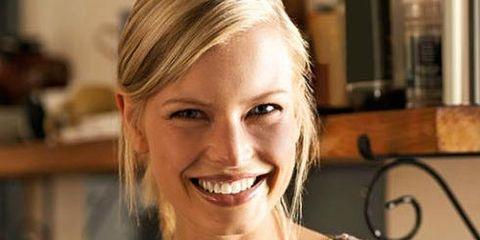 Smile, Leaf vegetable, Food, Tooth, Jewellery, Blond, Ingredient, Dishware, Vegetable, Eyelash,