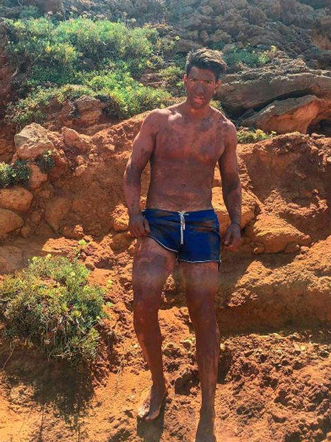 Human leg, People in nature, Shorts, Barechested, Chest, Soil, Trunk, Muscle, Abdomen, Trunks,