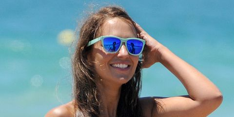 Clothing, Eyewear, Hair, Glasses, Vision care, Blue, Hairstyle, Shoulder, Goggles, Sunglasses,
