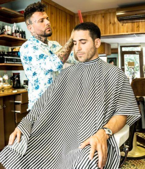 Hairstyle, Barber, Hairdresser, Fashion design, Furniture, Sleeve,