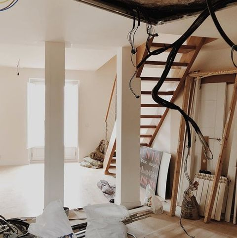 Room, Floor, Ceiling, Interior design, Wall, Flooring, Electrical supply, Cable, Plywood, Electrical wiring,