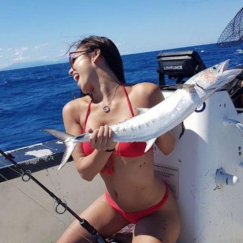 Fishing, Bikini, Recreation, Undergarment, Recreational fishing, Swimwear, Fish, Lingerie, Vacation, Jigging,