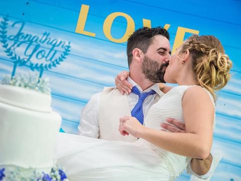 Photograph, Blue, Yellow, Aqua, Ceremony, Happy, Wedding, Romance, Love, Event,