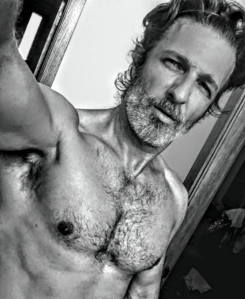 Barechested, Chest, Chin, Muscle, Facial hair, Arm, Bodybuilding, Jaw, Chest hair, Human,