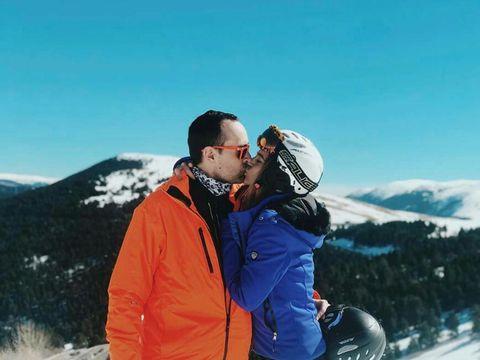 Winter, Jacket, People in nature, Interaction, Love, Romance, Kiss, Snow, Honeymoon, Hood,