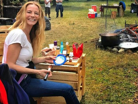 Picnic, Outdoor furniture, Outdoor table, Lap, Cookware and bakeware, Bottle, Cooking,