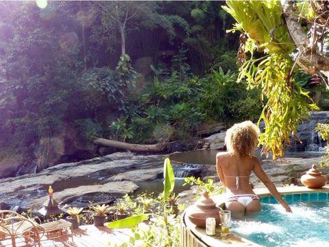 Leisure, Swimwear, Bathing, Vacation, Garden, Barechested, Swimming pool, Jungle, Back, Bikini,