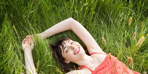 People in nature, Grass, Green, Beauty, Red, Skin, Pink, Meadow, Dress, Summer,
