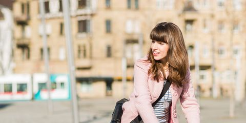 Street fashion, Clothing, Fashion, Shoulder, Beauty, Outerwear, Bicycle, Pink, Footwear, Joint,