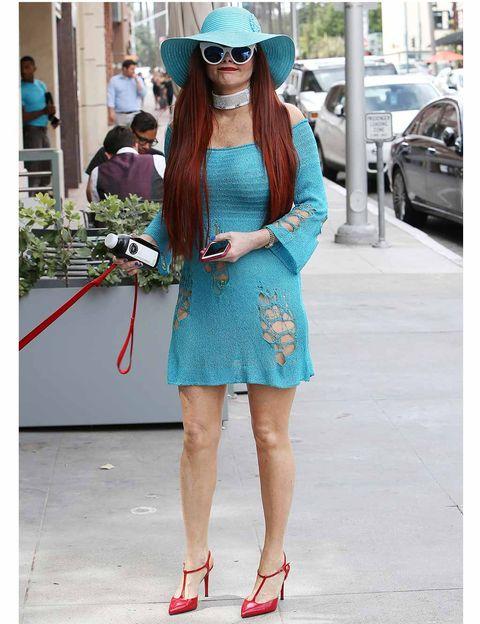 Clothing, Street fashion, Turquoise, Fashion, Blue, Eyewear, Dress, Footwear, Shoulder, Snapshot,