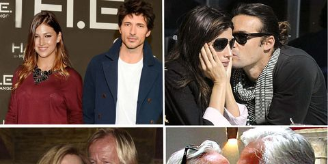 Ear, People, Forehead, Facial expression, Collage, Love, Interaction, Romance, Sunglasses, Kiss,
