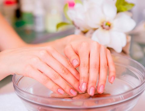 Finger, Fluid, Liquid, Hand, Nail, Pink, Petal, Peach, Nail care, Manicure,