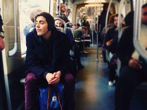 Transport, Passenger, Public transport, Sitting, Travel, Luggage and bags, Metro, Bag, Street fashion, Snapshot,