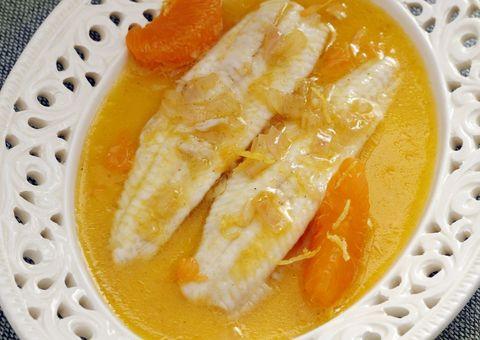 lenguado con salsa de mandarina