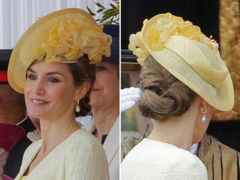 Hair, Clothing, Hat, Yellow, Fashion accessory, Hairstyle, Headgear, Sun hat, Headpiece, Bridal accessory,