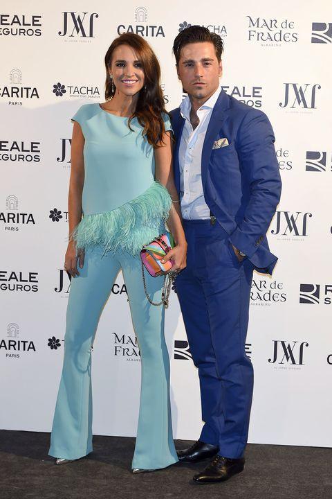 Pantsuit, Fashion, Suit, Fashion design, Event, Formal wear, Premiere, Carpet, Electric blue,