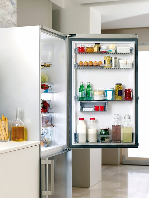 Liquid, Bottle, Major appliance, Freezer, Drink, Refrigerator, Kitchen appliance, Home appliance, Shelving, Food storage containers,