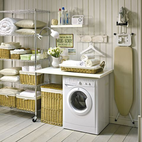 Washing machine, Room, Dishware, Clothes dryer, Major appliance, Laundry room, Shelving, Laundry, Serveware, Porcelain,
